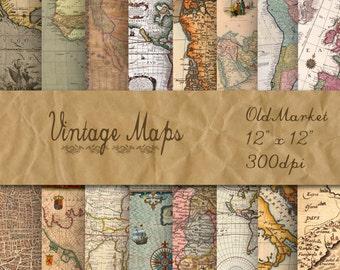Old Vintage Maps Digital Paper - Digital Paper Pack - 16 Designs - 12in x 12in - Commercial Use - INSTANT DOWNLOAD