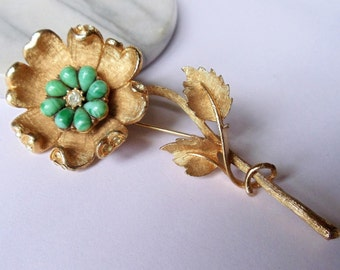 Vintage Coro Flower Extra Large Brooch, Clear Rhinestones & Turquoise Color Art Glass Textured Gold Tone Figural Pin, Estate Jewelry, 1960s'