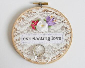 Lace wedding ring holder, ring pillow alternative, wedding hoop keepsake, boho ring bearer's ring holder