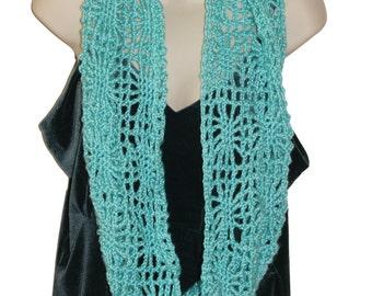 Blue Crochet Cowl, Beach Cowl, Silky Scarf, Blue Infinity Scarf, Womens Cowl, Blue Womans Scarf, Unique Scarf, Scarf for Women , Boho Style