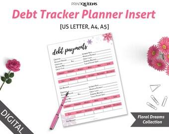 Debt Tracker, Debt Planner, Debt Payoff, A5 finance planner, Finance Binder, Debt Snowball, finance planner, A5/A4/Letter Size