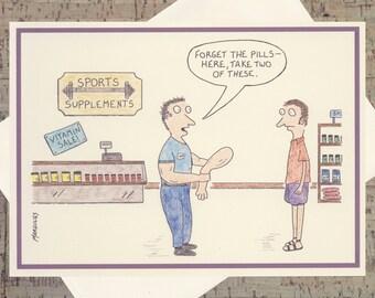 Funny Fitness Card, Funny Self-Improvement Card, Humor Card, Funny Card, Quirky Card, Funny All Occasion Card, Cartoon Card