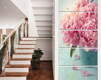 Pink Peony Flowers in Vase  Canvas Art Print and Metal Wall Art Available in Different Sizes (PT10024)