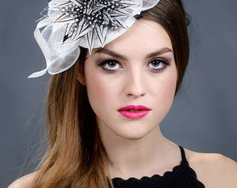 White fascinator. White wedding fascinator hat. Fascinator. Fascinators. Black and white wedding fascinator- New in 2018 collection