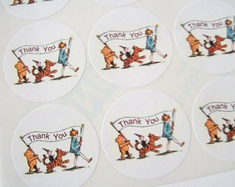 Vintage, Winnie the Pooh, Thank You, Sticker Sheet, Baby Shower, Birthday Party, Favor Bag Stickers, Jar Labels, 20 Stickers, Large, 2 Inch