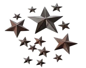 Rustic Metal Stars - 14 piece assortment package of mini stars - Shabby Rustic Wedding Party Home Decor