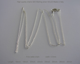 925 Sterling  Silver Cable Chain. Made in Italy With Anti-Tarnish Necklace Cable Chains  Length 16, 18, 20, 22, 24, 26, 28, 30""