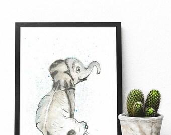 Nursery Safari Wall Art | A5 | Baby Elephant | Watercolour Art Print | Safari Nursery Art | Housewarming Gift | Safari Nursery set