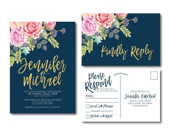 Floral Wedding Invitation Suite RSVP Postcard Wedding Invite Suite RSVP Card Watercolor Invitation Set 2 Piece Wedding Suite #CL322