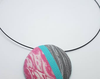 one of a kind abstract textured circular pendant