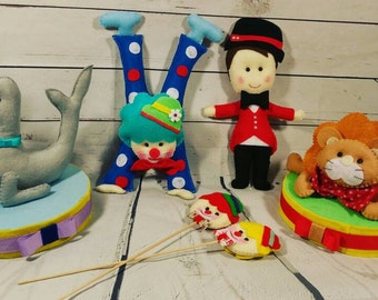 Kit party table decor circus theme,circus party ideas, clown, dolphin, lion, magician circus table decor, circus theme characteres,circus