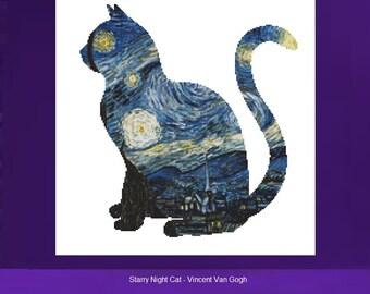 Cat Cross Stitch, Vincent Van Gogh,  Starry Night, Counted Cross Stitch Kit, Starry Night CrossStitch, Van Gogh Cross Stitch, DMC Materials