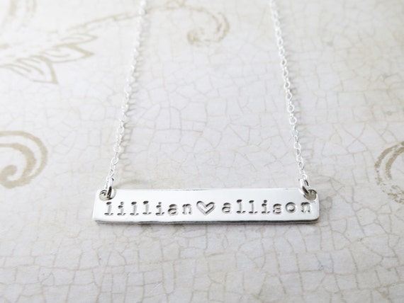 Silver Bar Necklace / Custom Bar Necklace / Mommy Necklace / Sterling Silver Bar / Horizontal Bar Necklace / Hand Stamped Name Necklace