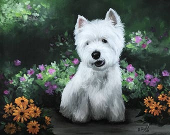 WESTIE West Highland Terrier PRINT from Painting art Dog 8x10