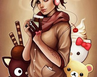 Mint latter autumn hello kitty coffee chocolate art print