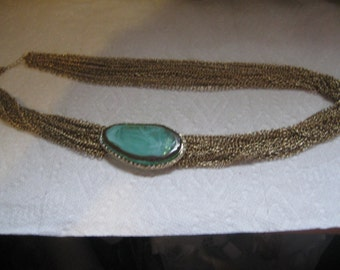 21 Strand Chain Necklace with Huge Aqua Focal Surrounded by Rhinestones
