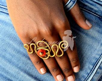 Ethnic Statement Brass Ring,African Statement Brass ring,Afrocentric Brass Ring