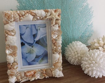 Seashell Frame, Beach Photo Frame, Shell Photo Frame, Shell Frame, Beach Home Decor, Costal Decor, Nautical Decor, Beach Wedding Gift