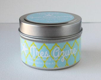 Your travel buddy_White Tea & Ginger_Soy Candle in 4oz Tin, Scented Candle, Wood Wick Candle, Scented Soy Candle, Tin Candle