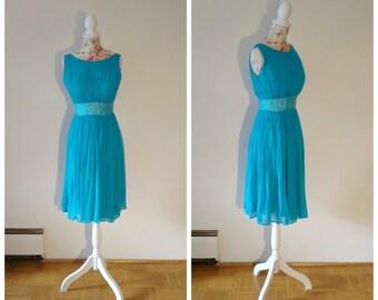 vintage 1950s blue chiffon dress