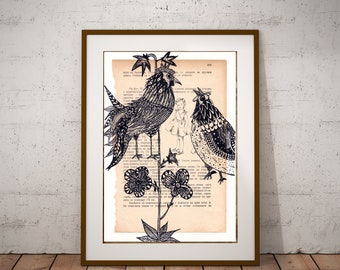 Rooster Painting, Cock Wall Art, Chicken Wall Decor, Hen Illustration, Farm Wall Art, Birds Art Print, Painting on Book, Drawing on Map