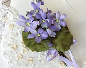 Silk pansy flower brooch, violet brooch, viola flower pin, silk accessories,  bridesmaid gift, hand dyed brooch
