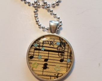 "Vintage Sheet Music Pendant with ""Happy"" Lyric & Ball Chain Necklace"