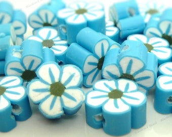 10mm Sky Blue Polymer Clay Flower Beads - 20pcs - Scalloped Floral Pattern, Flat Round Beads - BC21