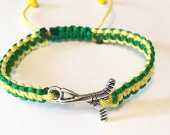 Hockey Bracelet Humboldt Strong, tressé unisexe vert et jaune Humboldt Broncos en Nylon fort Hockey Bracelet à breloques