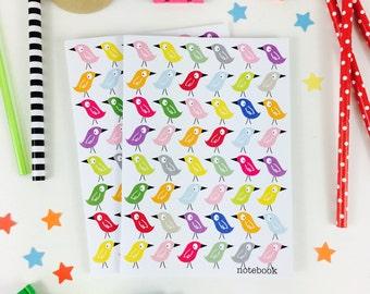 Multi Birds Notebook, Party Bag Filler, Children's gift, Kid's Stationery, Kid's Stocking Filler, party bag notebook, gift for bird lover