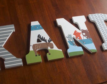 Custom Hand Painted Letters, Woodland Animals, Tippy Canoe