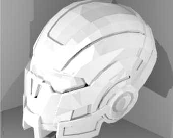DIY Mass effect cosplay helmet pattern for pepakura to build your own