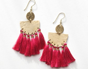 Tasseling Fushia Earrings
