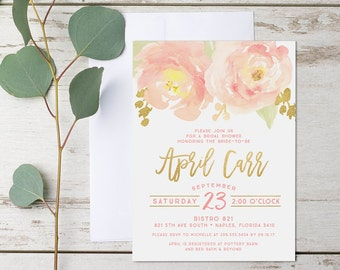 Blush Peony Bridal Shower Invitation, Blush, Pink, and Gold Watercolor - Digital {or} Printed