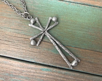 Vintage Pewter Cross Pendant Necklace 1960s
