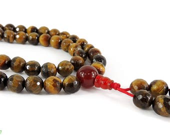Tibetan Necklace Faceted Tiger Eye Mala Ohm Beads 34 Inch 117543