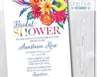 Floral Tropical Colorful Summer Watercolor Bridal Shower Invitation - Printable (5x7)