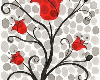 Watercolor Painting: Watercolor Flower Painting -- Art Print --  Red Polka-Dot Flowers -- Scandinavian Tulips -- 11x14