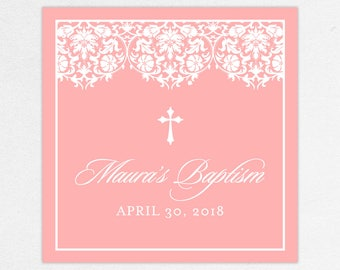 Baptism Favor Tag, Baptism Favor Label, Christening Favor Tag, Christening Favor Label, Printed, Floral, Damask, Lace, Girl, Pink, Maura