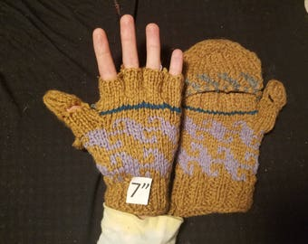 "F.) Hand made wool rayon mittens- Pakistani made- 7"" length"