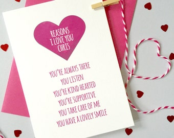 Personalised Reasons I Love You Card - Anniversary Card - Card for Husband - Card for Wife - Wedding Card - Valentine's Day Card
