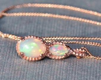 Welo opal necklace etsy stunning rose gold welo opal pendant necklaceethiopian welo opal necklacedainty petite small mozeypictures Gallery