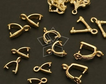 PS-A02-GD / 14 Pcs - Sampler(A) Pinch Bails for Crystal Pendants - Gold 7 pairs of various styles and sizes