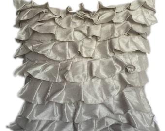 Silver Pillow Covers, Metallic Pillow, Minimalist Pillow, Ruffles Pillow, Modern Pillow Covers