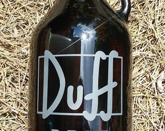 Duff Beer Hand Etched Amber Beer Growler 64oz.  Reusable Custom Etched for Craft Brews, Sandcarved by Jackglass on Etsy.com