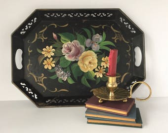 Floral Toleware Tray, Vintage 1940s Reticulated Tray, Black Tray with Painted Flowers, Pierced Metal Tray