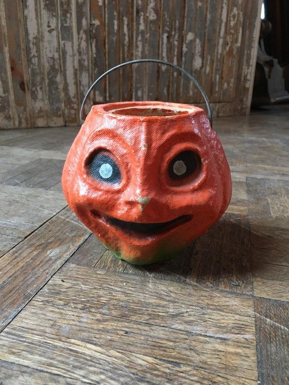 1930s Paper Mache Pumpkin, Vintage Halloween Decor, Antique Paper Mache Pumpkin Candy Holder, Jack O Lantern