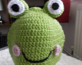 Handmade Crochet fun frog beanie