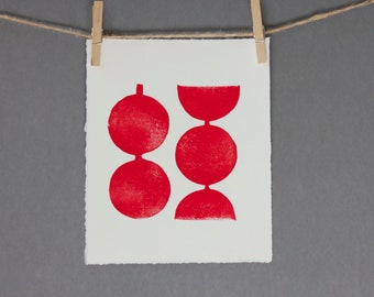 Hand pulled Relief Red Modern Linocut Geometric Circles Art Print 8 x 10 Polka dot