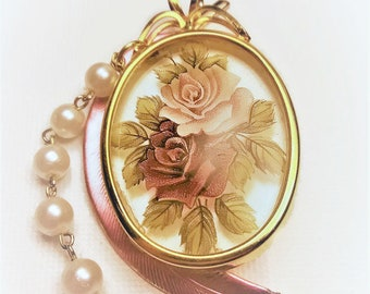 Rose & Gold Pretty Floral Pendant